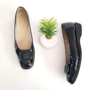 SALVATORE FERRAGAMO Low Wedge Pump Black Logo Shoe